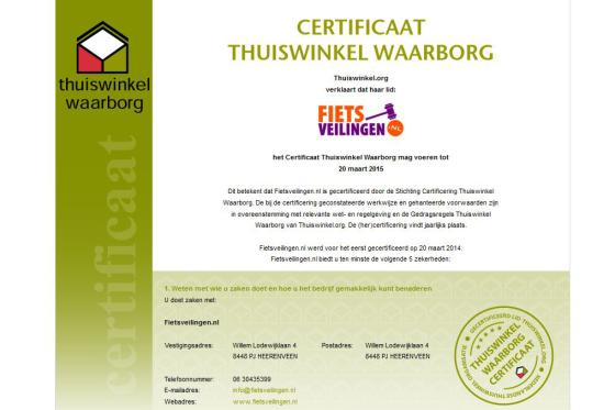 Fietsveilingen.nl krijgt certificering Thuiswinkel Waarborg