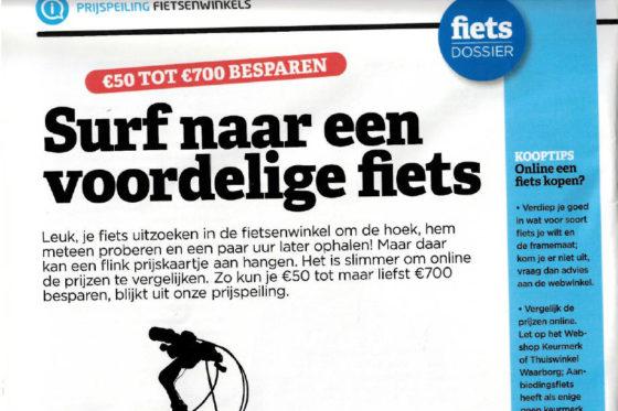 De Consumentenbond adviseert consumenten om online prijzen te vergelijken voor een (elektrische) fiets. Daarmee kunnen ze € 50,- tot € 700,- besparen op de koop ervan. Beeld de Consumentengids