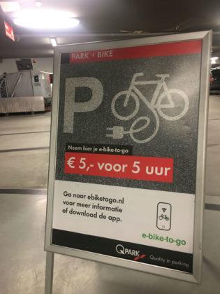 Q-Park biedt als eerste parkeerbedrijf in Europa in samenwerking met E-bike to go elektrische fietsen aan die eenvoudig via de smartphone te huren zijn. Hiermee kan snel, duurzaam en eenvoudig de 'last mile' naar de eindbestemming in de binnenstad worden afgelegd.