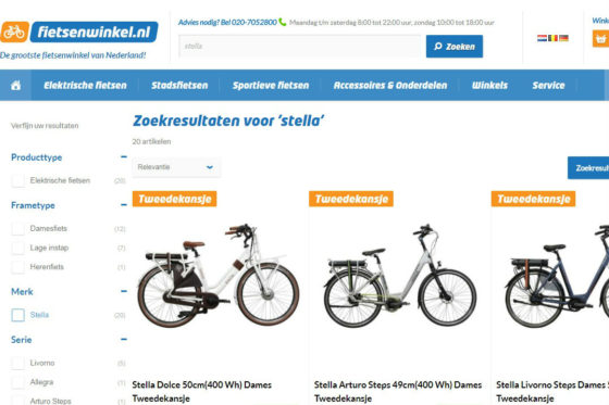 Fietsenwinkel.nl verkoopt nu ook Stella