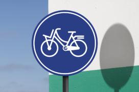 Cortina start actie voor nieuwe afbeelding op fietsbord